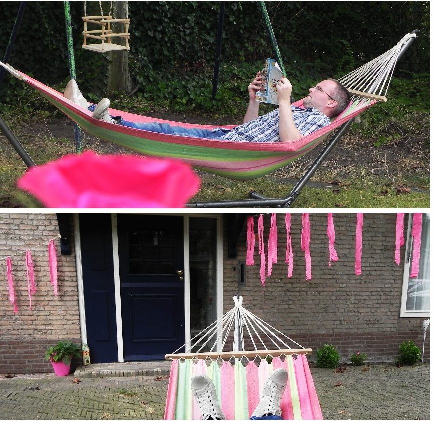 tuinfeest, blog, diy slinger, hangmat, tuin, party, mamablog, La Log