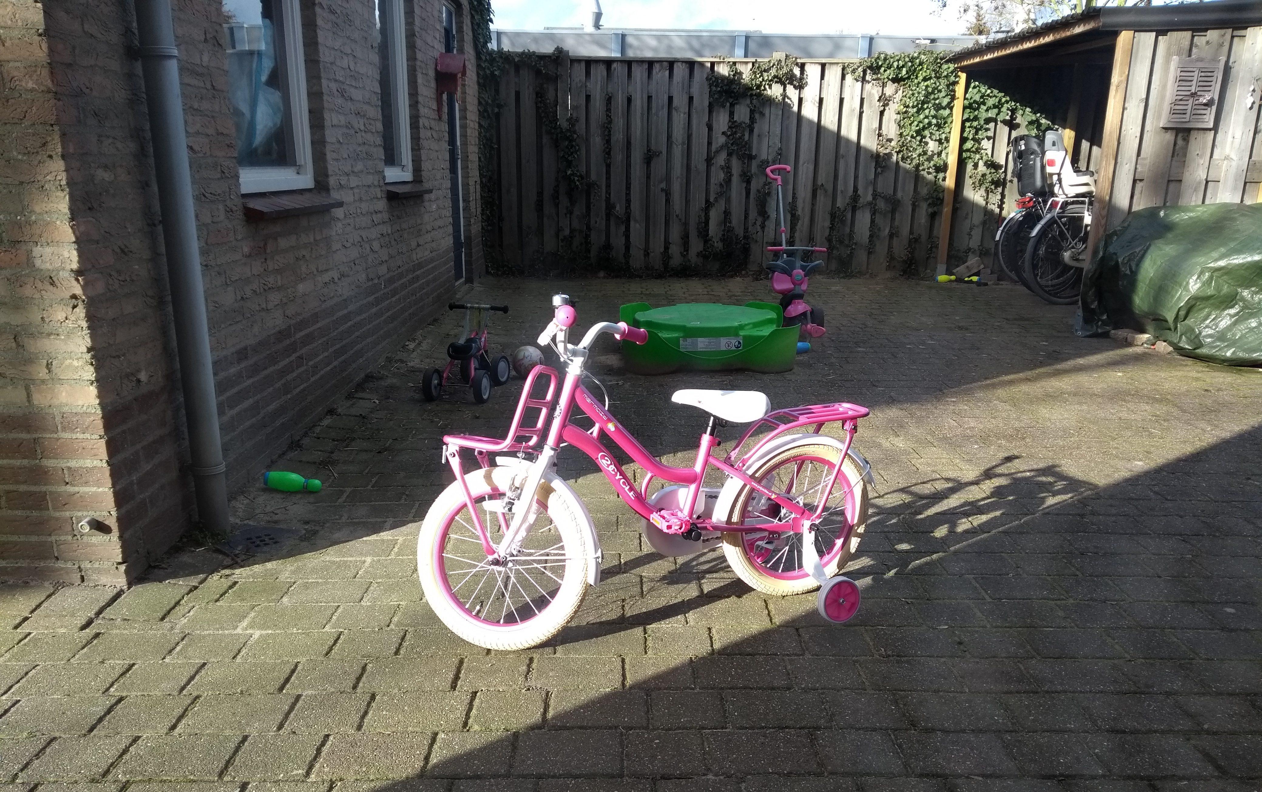 fiets, meisjesfiets, kinderfiets, kleuter, leren fietsen, zijwieltjes, kinderen, mamablog, mamalifestyleblog, gezin, roze fiets, lalogblog, lalog.nl, lalog